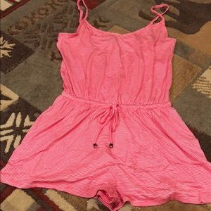 Pink and white stripped romper